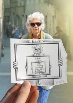 Pencil Vs Camera. This is an old woman I met in a street of Venice, Italy. She was walking alone and looking very sad. I hope that person feels better now (I took the photo and also made the quick drawing).