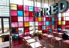 To conclude my series on Tokyo's Café boom, I'd like to show a more recent work by Ichiro Katami and Uichi Yamamoto. SO TIRED opened in April of 2006 in the business district of Marunouchi. The concept was to create a church-like atmosphere where businessmen can relax after (or during) a hard days work.