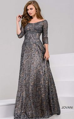 LOVE Prom Dresses Gorgeous floor length A-line metallic gunmetal lace evening gown features corset bodice with off the shoulder neckline and three quarter sleeves. Evening Gowns With Sleeves, A Line Evening Dress, Lace Evening Gowns, Long Sleeve Evening Dresses, Lace Dress With Sleeves, A Line Gown, Plus Size Evening Gown, Formal Evening Dresses, Dress Lace