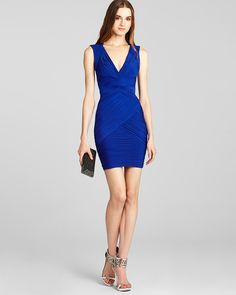 LOVE THIS BCBGMAXAZRIA Dress... V-Neck Ruched | Bloomingdale's