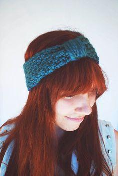 Hand Knit Teal Turban Headband