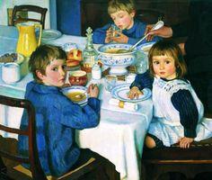 At breakfast.  Zinaida Serebryakova (1884 – 1967, Russian)