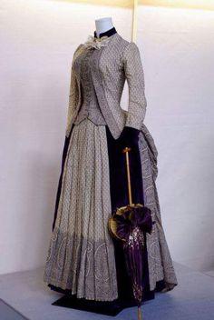 Printed paisley wool dress 1865 American