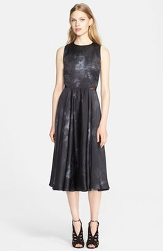 Alice + Olivia Leather Trim Textured Silk Dress available at #Nordstrom