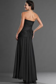 osell wholesale dropship Chiffon Tulle Pleated Beading Strapless Sleeveless Floor Length A Line Evening Prom Dresses $75.28