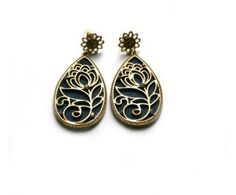 Vintage náušnice tyrkysové zlaté. Vintage earrings. #womanology #jewelry #accessories #vintageearrings
