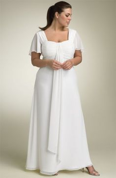 So simple yet SO lovely!  Style PS3016 Plus Size Wedding Dresses with Flutter Sleeves