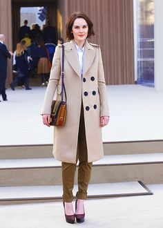 Michelle Dockery arrives to attend the Burberry Prorsum show during London Fashion Week Fall/Winter 2013/14 at on February 18, 2013 in London.