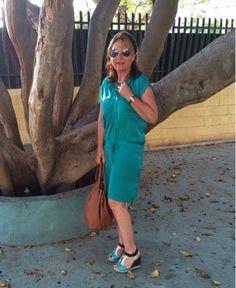 Viviendo los 50: Vestido camisero verde