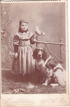 From cabnetcardgallary.  A young girl and her dog are accompanied by a bird in this cabinet card portrait by Huddleston of New Castle, Indiana.