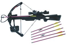 """MK250A1 Hunting Crossbow Package 4x32 Scope Laser 20"""" Arrows Tips Cross Bow New"""