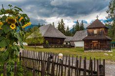 Photo was taken in Liptov, Slovakia. Museum of Liptov Village, is the most attractive landmark of the Liptov region. It displays the typical folk architecture. Bratislava, Czech Republic, Fields, Museum, Cabin, Display, Explore, Wall Art, Architecture