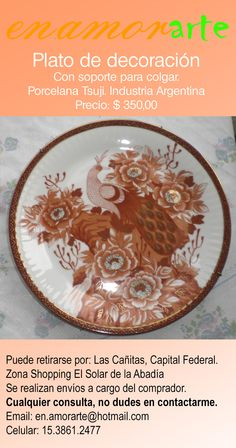 en.amorarte - Plato de decoración de porcelana Tsuji.