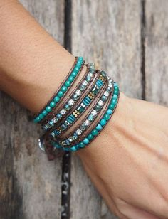 Turquoise howlite Crystal beaded mix wrap bracelet, Boho bracelet, Beadwork bracelet