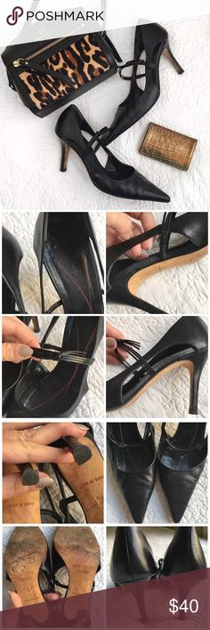 """Kate Spade Pointed Toe Heels Black leather Kate Spade sling back pumps.  3"""" heel.  Visible signs of wear on the bottoms and the inside (where it says Kate spade) is wearing away.  Priced to reflect. kate spade Shoes Heels"""