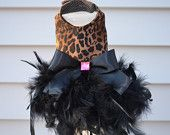 Dog Feather Harness Dress - Leopard Diva