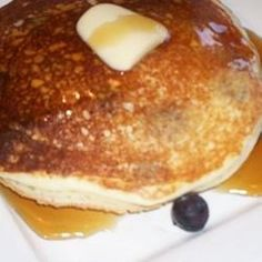 Yummy pancakes with the unexpected addition of ricotta cheese and blueberries. Serve with your favorite condiments.