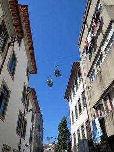 Teleferico de Gaia cable car, 50m above the rooftops of Vila Nova de Gaia, across the River Douro from Porto, Portugal.