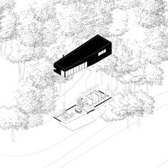 Lifted axo with facade in black and surroundings in thin line weight