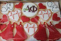 Alpha Phi cookies for Red Dress Gala, Women's Heart Health Awareness