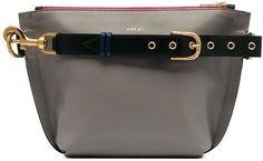 Sacai Trapezoid shoulder bag Designer Shoulder Bags, Block Design, Grey Leather, Color Blocking, Shoulder Strap, Saint Laurent, Women Wear, Belt, Fashion Design
