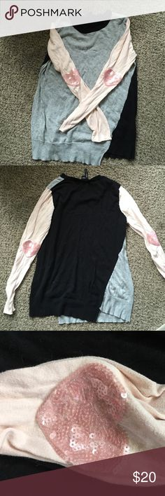 """Charlotte Tarantola Sweater Black Gray Pink Heart Asymmetrical sweater with pink sleeves with sequin hearts elbow """"patches"""". Never worn. charlotte tarantola Sweaters Crew & Scoop Necks"""