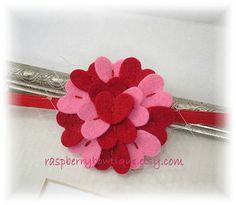 Valentines Baby Headband Sweet Heart Headband Wool Felt Flower-Red and Flamingo-U PICK Headband, or Hair Clip, or Brooch. $9.35, via Etsy.