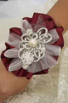 Wrist Corsage Brooch Wrist CorsageWedding Bridal by AbbyPlace, $34.95