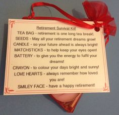 Retirement Survival Kit - Novelty Fun Gift Or Keepsake Leaving Work Present in Home, Furniture & DIY, Celebrations & Occasions, Other Celebrations & Occasions   eBay