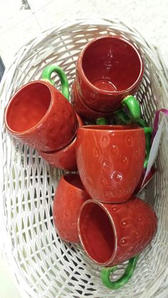 8 strawberry cups @ Devine antique mall