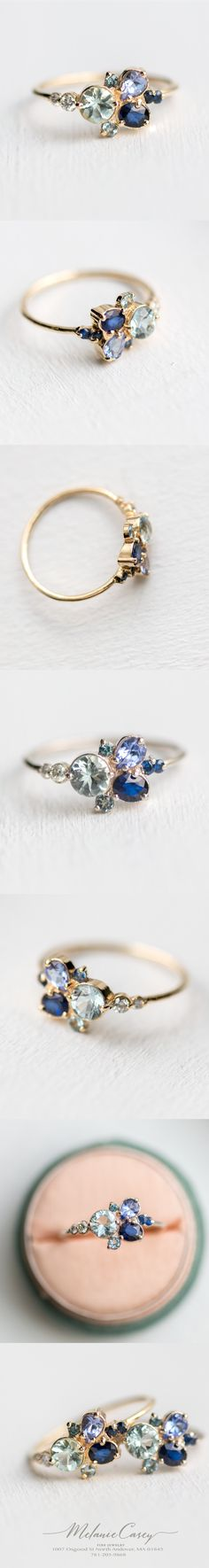 Cool-hued cluster ring