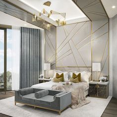 A CGI of a master bedroom that we produced for a Mayfair development.