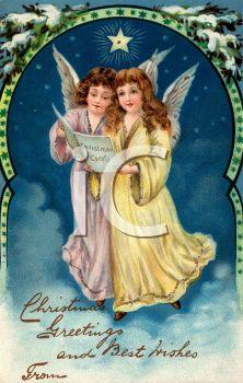 Vintage Illustration of Two Angels Singing Christmas Carols