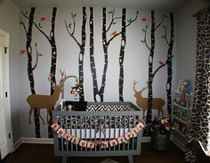 forest Birch Tree Wall Decal Forest with Snow Birds and Deer wall decals Baby Boy Nursery Themes, Baby Boy Rooms, Baby Boy Nurseries, Themed Nursery, Country Baby Rooms, Nursery Ideas, Neutral Nurseries, Kids Rooms, Room Ideas