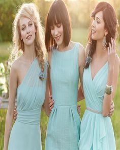 This is a great way to let bridesmaids express themselves. Choose matching gowns in different styles for your bridal party.
