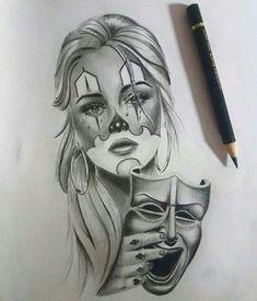 Ideas To Draw Tattoo Girl Dibujo - Ideas Drawing Tattoo Girl Dibujo – – draw - Cholo Tattoo, Chicano Tattoos, Payasa Tattoo, Art Chicano, Chicano Drawings, Body Art Tattoos, Sleeve Tattoos, Chicano Style Tattoo, Tattoo Girls