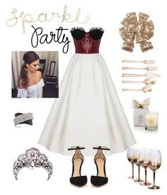 """""""Daria"""" by jurneefade on Polyvore featuring Rasario, Lenox, Gianvito Rossi, Mark Broumand, HolidayParty and deckthehalls"""