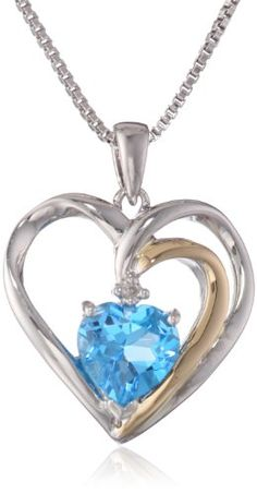 """XPY Sterling Silver, 14k Gold and Gemstone Heart with Diamond Accent Pendant Necklace, 18"""" for only $74.99 You save: $124.01 (62%)"""