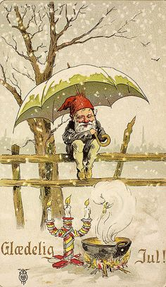 Vintage greeting card, post card, happy New year, Christmas, winter, retro, antique, elf, gnome, fairy