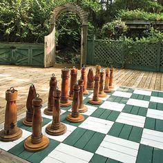 Jim Scott's Alabama Wonderland Garden games for the family backyard fun with giant outdoor chess boa Outdoor Play, Outdoor Rooms, Outdoor Gardens, Outdoor Living, Outdoor Checkers, Patio Design, Garden Design, Lakeside Garden, Giant Chess