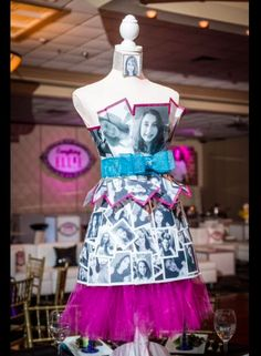 A mannequin decorated in selfies of the Bat Mitzvah girl was used as a centerpiece. | MitzvahMarket.com