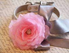 Pink Silver wedding dog collar, Floral dog Collar- Pink flower and Rhinestone, Wedding dog accessory