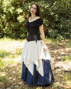 Ivory Satin Eight Point Pixie Skirt - Renaissance Clothing - Halloween Costume - Ren Faire Garb - Pirate Skirt - Fantasy Faerie Costume by Faire Treasures on Etsy