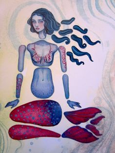 printables- puppet - paper doll- paper toy - artcraft MERMAID