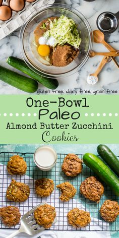 So stinking simple. So flipping delicious. And all the magic happen in one bowl! These One-Bowl Paleo Almond Butter Zucchini Cookies are made with simple, wholesome ingredients, are veggie-loaded, and only take a few minutes you can whip up. Perfect for a quick breakfast or snack, these awesome cookies are naturally gluten free and dairy-free to boot! #glutenfree #grainfree #dairyfree