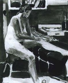 Diebenkorn  Untitled (Nude)  1964  charcoal, graphite, ink wash on paper  urgetocreate\