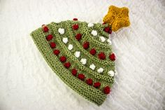 Knitted Baby Christmas Tree Bobble Hat with Knit by heaventoseven
