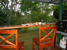 """Ploughman's dinner on the back verandah Looking down into """"our valley"""""""