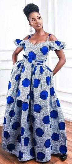 Blue Ankara maxi dress at Diyanu - Ankara Dresses, Shirts & Ankara Maxi Dress, Ankara Dress Styles, African Fashion Ankara, African Inspired Fashion, Latest African Fashion Dresses, African Dresses For Women, African Print Fashion, African Attire, African Dress Styles