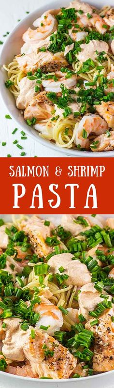 Salmon & Shrimp Pasta – This is our favorite easy and healthy pasta recipe. It takes less than 20 min to make and is full of delicious protein │ http://TheFitBlog.com